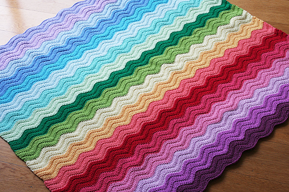 Crochet Ripple Blanket : rainbow Katies Kitchen Blog